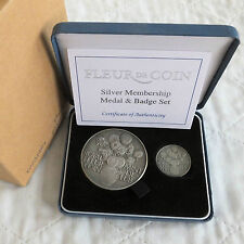 ROYAL MINT FLEUR DE COIN COIN CLUB HM SILVER MEDAL AND BADGE SET - complete