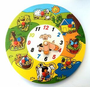 Kinder Lernuhr 22cm Holz Neu Uhr Puzzle Kinderuhr Uhrzeit Lernen