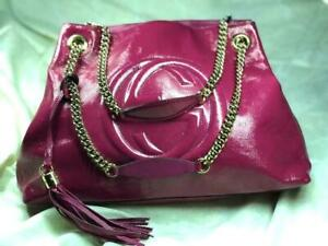 9419bfb9f7ff Image is loading GUCCI-SOHO-CHAIN-PINK-PATENT-LEATHER-TOTE-with-