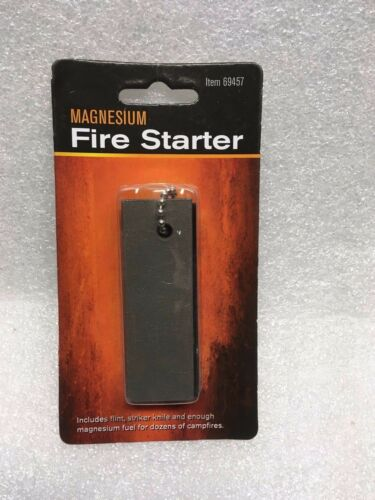 One Magnesium Fire Starter with attached Ferro Rod and Serrated Steel Scraper