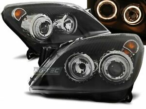 Coppia-di-Fari-Anteriori-per-Opel-ASTRA-H-2004-2009-Angel-Eyes-Neri-IT-LPOP72-ED