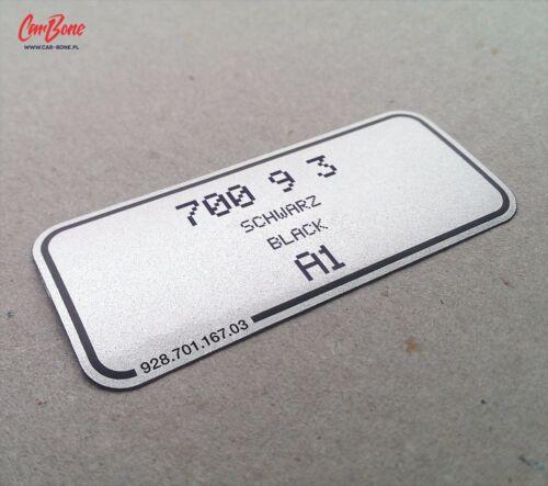 928 PORSCHE COLOR CODE DECAL 911 1985 – 1987 924 944 sticker silver