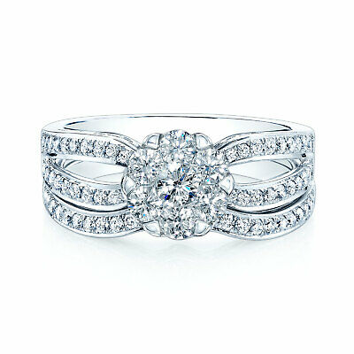 0.26 Ct Round Cut Diamond 14K White Gold Fn Cluster Engagement Wedding Ring