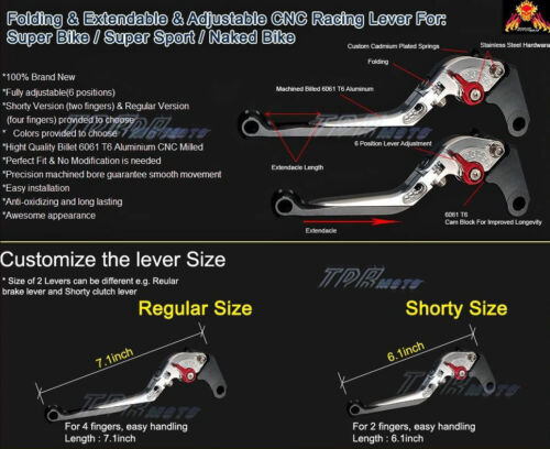 Kawasaki ZX10R 2006-2012 Adjustable Folding Brake /& Clutch Lever 07 08 09 10 11