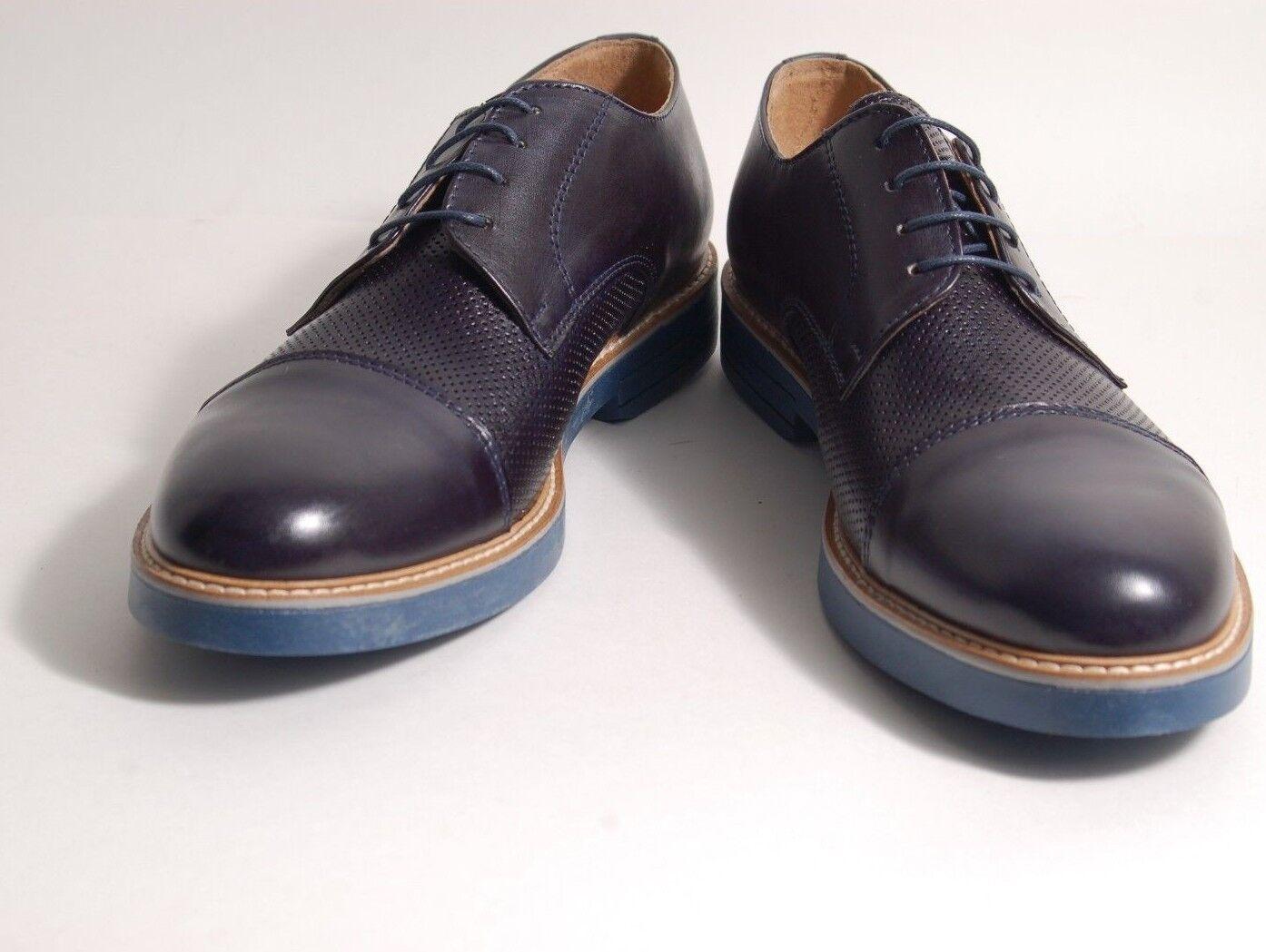 Acc Fait A la Main Italien Chaussure à Lacets Casquette Orteil blue 605