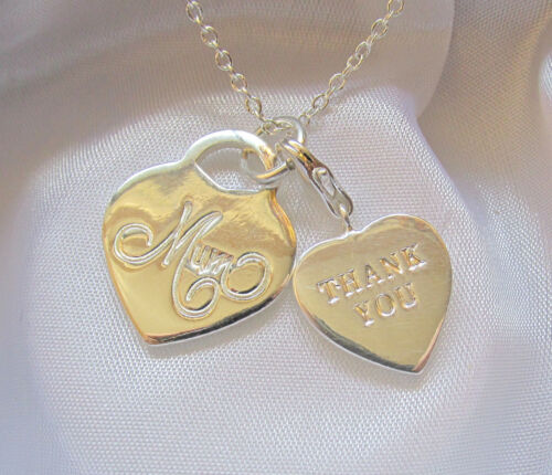Sterling Silver Mom Thank You Mother/'s Day Heart Pendant Necklace Gift Box