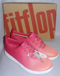F Coral 6 Sneakers Pink Ladies sporty Sz Lace Fuchsia Mesh Trainer Fitflop Ombre XOdxX7