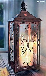xxl laterne windlicht neu in braun aus metall 50 cm gross 4026411436197 ebay. Black Bedroom Furniture Sets. Home Design Ideas