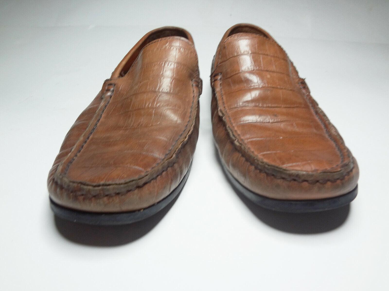 Donald Pliner Iggy Loafer Slip On Gator Print Driving Moc Toe Mens Size 8.5M