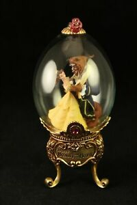 Limited-Edition-Franklin-Mint-Disney-BEAUTY-and-the-BEAST-Gold-Footed-Glass-Egg