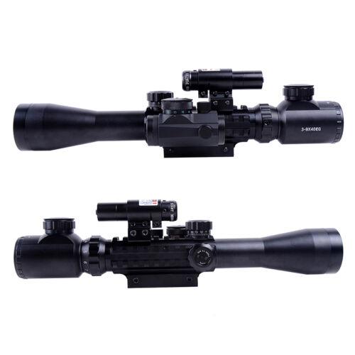 Red // Green 3-9x40 Illuminated Tactical Rifle Optical Gun Scope Mil Dot Zoom