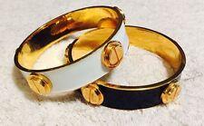 NWOT 2 CC Skye Enamel & Gold Studded Screw Bangle Bracelets - 1 Black & 1 White