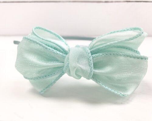 Mint Green Satin Hairband Headband Mint Green Triple Bow Bridesmaid Flower Girl