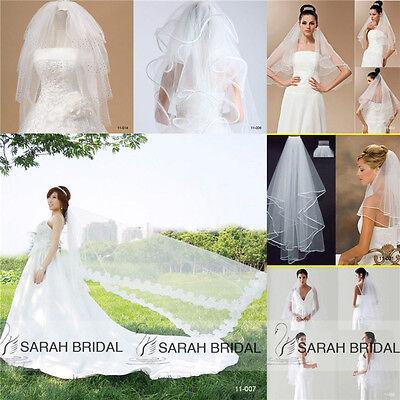 New Wedding Bridal Short/Long White Ivory Veils Hot Sale Tulle Lace Mantillas