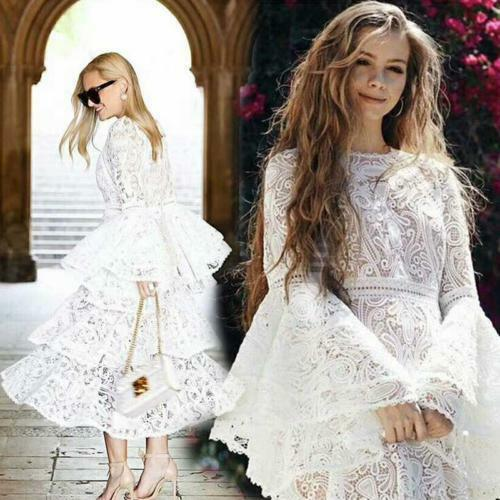 Women's Round Toe Lace Embroidery Floral Dress Sleeve Wedding Party Dress B987