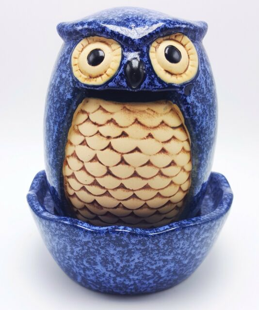 Crafty Blue Owl Table Top Stoneware Fountain Indoor Outdoor Decorative