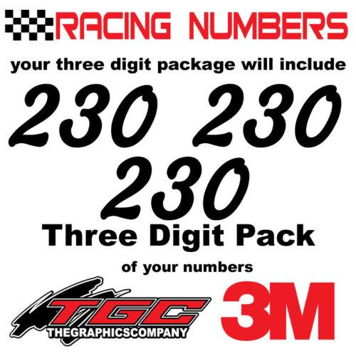 Racing Numbers Vinyl Decals Stickers boat car BMX bike off road sprint quad mchg