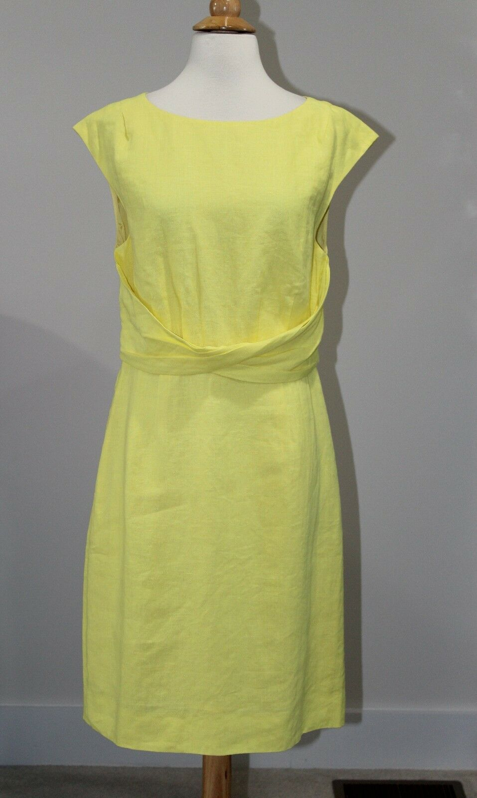 NWT J CREW FACTORY SUITING  128 Lemon Citrus Yellow LINEN TWIST DRESS Sz 8