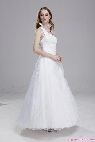 NEU Brautkleid Hochzeitkleid weiß oder creme mit Neckholder Größe 34 bis 58