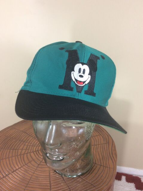 7ad2ad632e4 Mickey Mouse Dad Hat Snap Back Vintage 90s Disney Turquoise Black Baseball  Cap