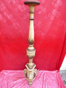 Beautiful-old-Large-Wood-Candlestick-Encased-118cm
