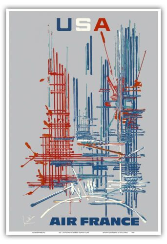 USA American Abstract Expressionism Vintage Airline Travel Art Poster Print