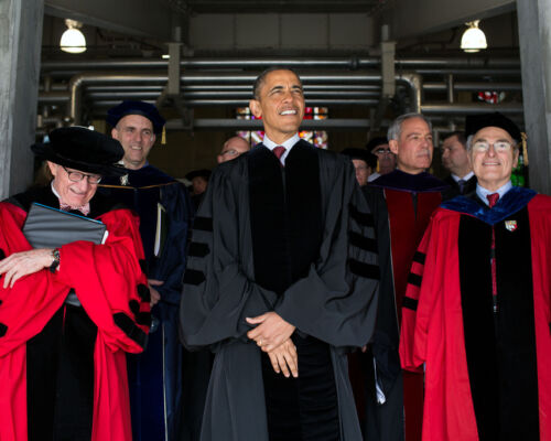 CC-061 8X10 PHOTO BARACK OBAMA BEFORE COMMENCEMENT SPEECH AT OHIO STATE