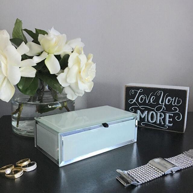 Stunning Rectangle Jewellery Box/White/Bevel Glass Jewel Box/Gift Idea