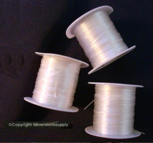 3 rolls 30m m084b Elastic bead stretchy cord 96/' WHITE .8mm beading thread