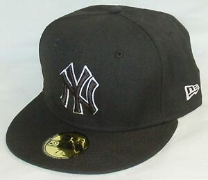 ee7da5d7ded NEW Era 59fifty NEW YORK YANKEES Baseball Hat BLACK fitted cap SIZE ...