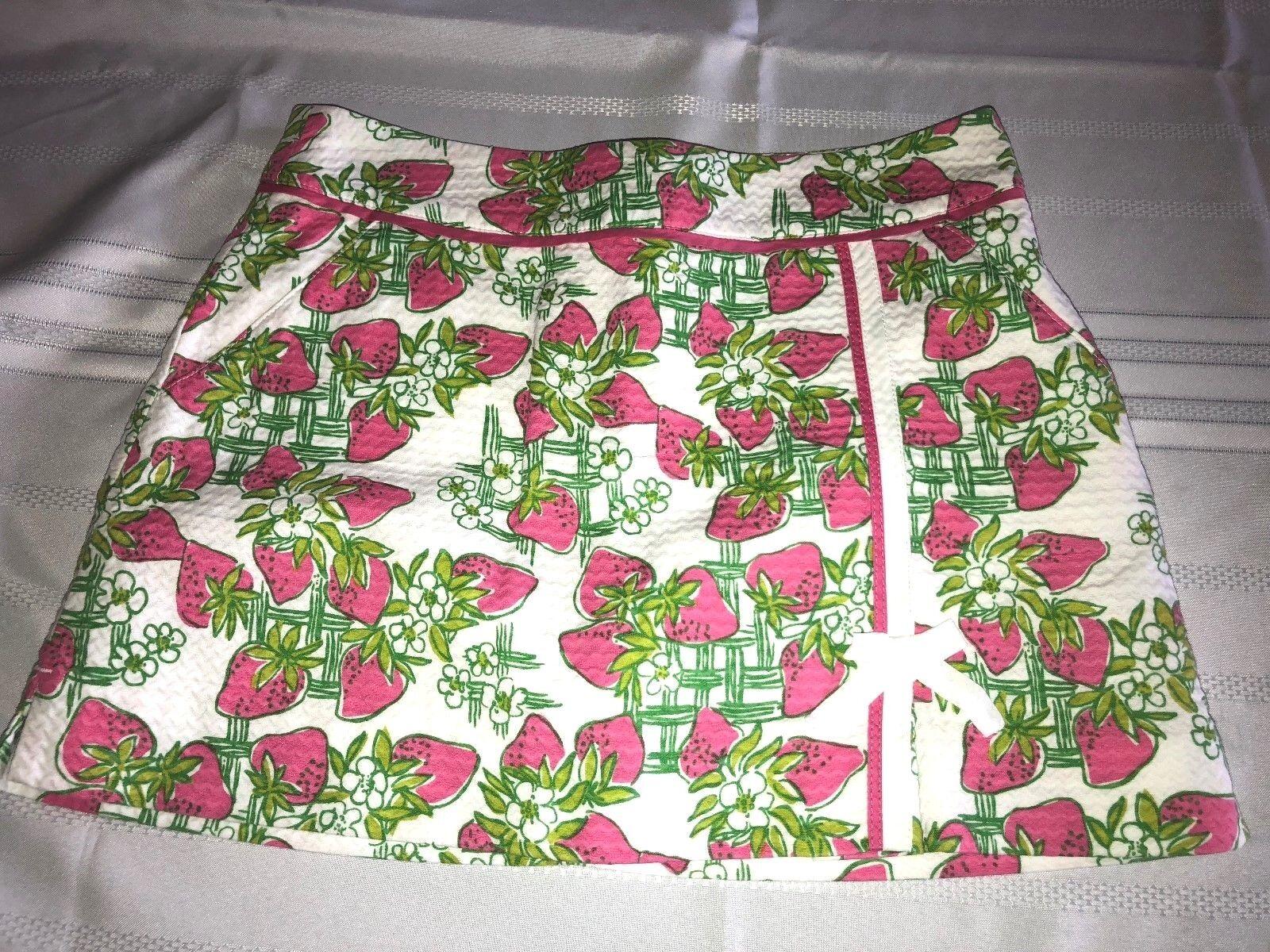Lilly Pulitzer Womens Pink Green Textured Strawberry Creme Fraiche Skort Size 2