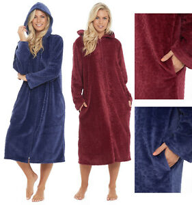 d95810cc63 Image is loading Zipped-Dressing-Gown-Fleece-Ladies-Womens-Hooded-Robe-