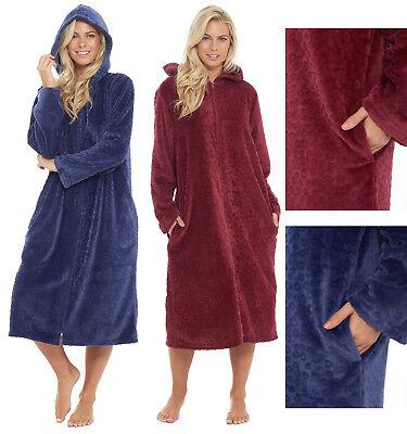 Une Robe De Chambre Polaire Femme A Capuche Robe De Chambre Longue Longueur Bleu Marron Ebay