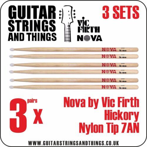 3 Pairs 7AN NOVA by Vic Firth Hickory Nylon Tip Drumsticks
