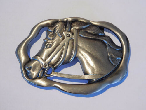Large Equestrian 4.5 inches Western Mens Vintage Horse Belt Buckle 1970s