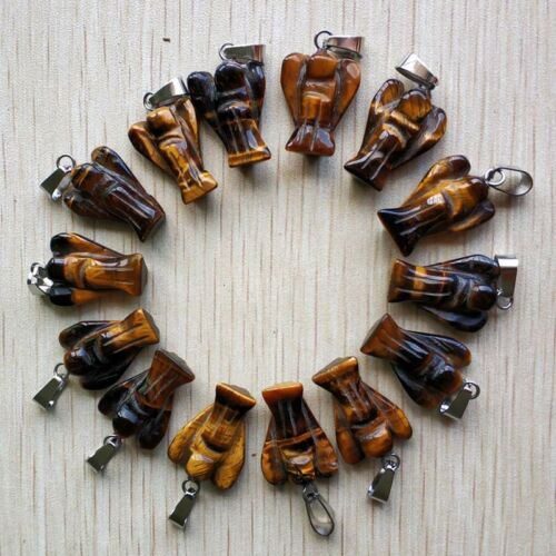 Wholesale 12Pcs//lot natural tigers eye stone Carved Angel charms Pendants free