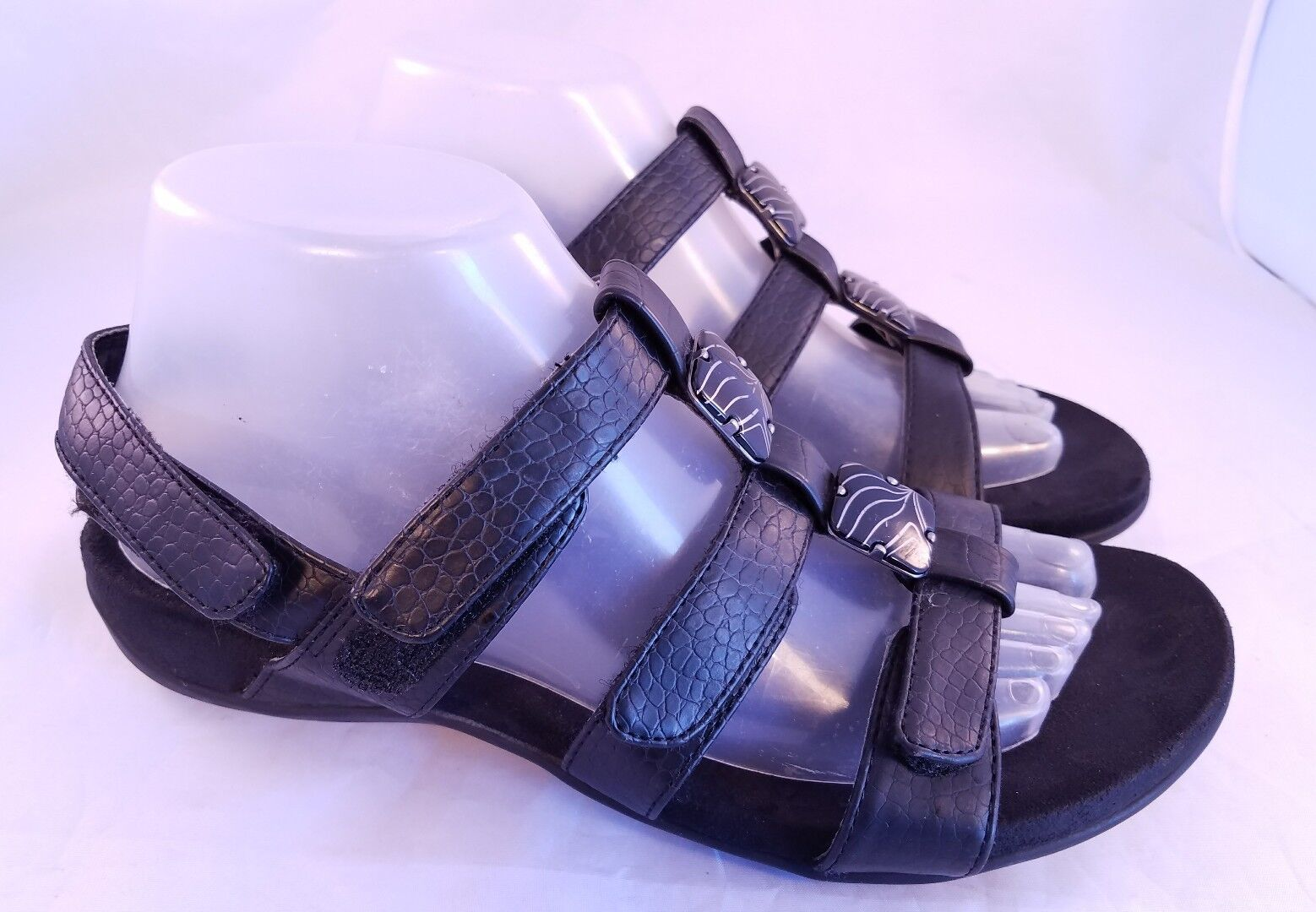 VIONIC CROCODILE ORTHAHEEL Damenschuhe SANDALS BLACK CROCODILE VIONIC PRINTS EUR 39/US 8 18b4bb