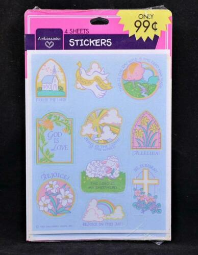 1985 Ambassador Hallmark 4 Sheets Sealed Worship Stickers