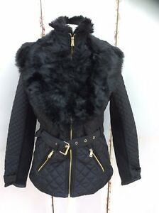 Quilted Black Fur Island Lovely River Collared Jacket Bnwt qRfxXA