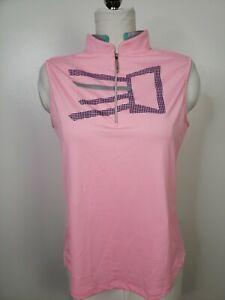 NWT-Jamie-Sadock-Golf-Top-1-4-Zip-Front-Sleeveless-Pink-Blue-Gray-Large