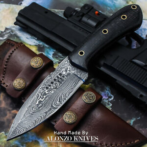 ALONZO-USA-CUSTOM-HANDMADE-DAMASCUS-HUNTING-SKINNER-KNIFE-MICARTA-HANDLE-15964
