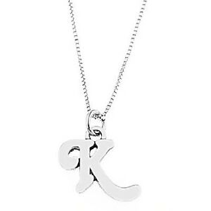 Sterling Silver Initial Pendant Box Chain Necklace Lkz5OcjL