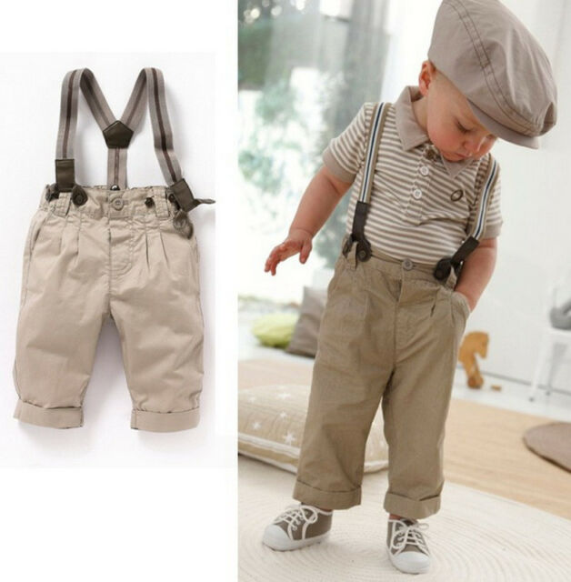 Boys Baby Clothes 0-5Y Toddler Set Gentleman Overalls 2PCS Outfit Top+Bib Pants