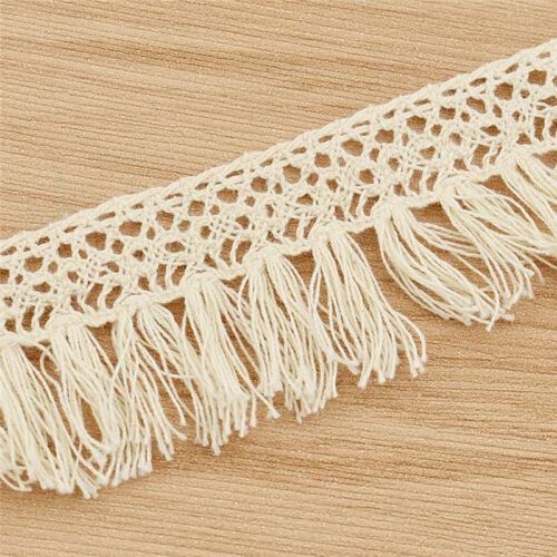 approx. 2.74 m Borla Encaje Costura Embellecimiento Trimmings Beige Decoración Flecos de algodón 3 YD
