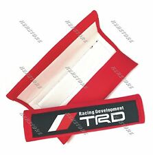 X2 TRD Red Soft Fabric Car Seat Belt Cover Shoulder Cushion Pads For TOYOTA
