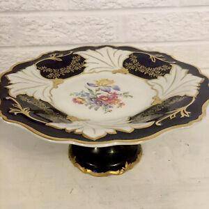 Vintage-Echt-Kobalt-Footed-Cake-Plate-Cobalt-Gilt-Rim-German-Democratic-Republi