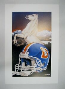 """Denver Broncos NFL Football 20"""" x 30"""" Team Lithograph Print by Kelly Russell"""