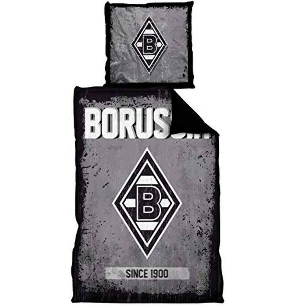 Borussia Mönchengladbach Bettwäsche  135x200 cm schwarz grau Microfaser  | Umweltfreundlich