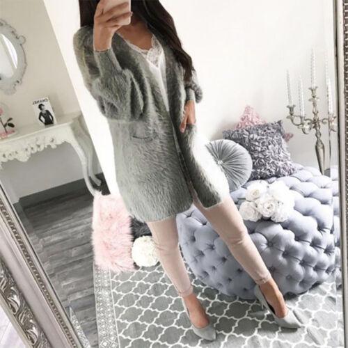 Women Ladies Winter Long Sleeve Slim Fluffy Fur Cardigan Coat Open Front Jacket