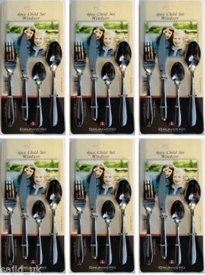 6x Grunwerg Windsor In Acciaio Inox 4 Pezzi Set Di Posate Bambini-gratis P&p-